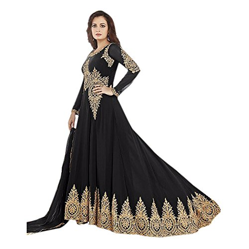 Surat Tex Black & Cream Colored Santton Embroidered Semi-Stitched Salwar Suit-K451DL479