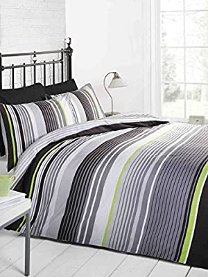 Signature Striped Quilt Duvet Cover and Pillowcase Bedding Bed Set, Grey/Black/Green/White, Single - cheap UK light shop.
