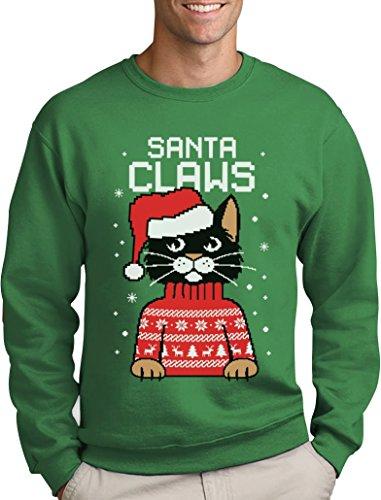 Santa Claws Krallen - Katzenliebhaber Herren Weihnachtspullover Sweatshirt Grün
