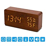 ARASHI Wooden Alarm Clock, Digital LED Display Wooden Clock, Smart Voice-Activated with 3