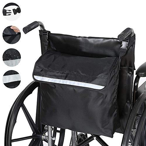 PERFETSELL Rollstuhltasche Hinten Wasserdicht Oxford Rollstuhl Tasche Groß Schwarz Rollstuhl Rucksack Aufbewahrungstasche mit reflektierenden Streifen für Rollstuhl Griffe