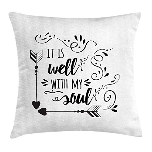 th My Soul Throw Pillow Cushion Cover, Doodle Style Positive Inspirational Quote with Swirls Heart Arrows, Decorative Square Accent Pillow Case, 18 X 18 Inches, Black White ()