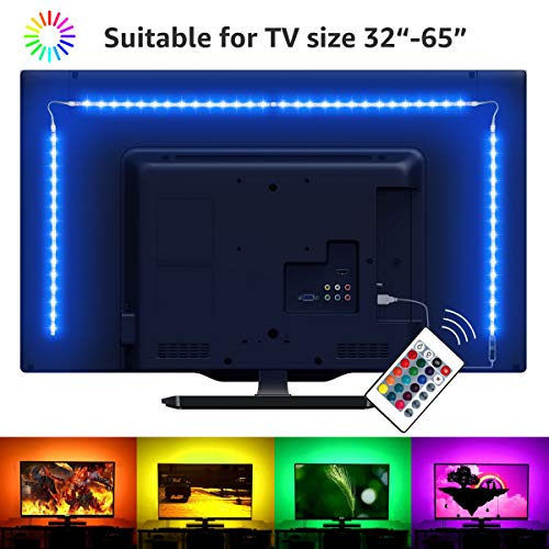 LE LED TV Hintergrundbeleuchtung, 2M RGB LED Fernseher Beleuchtung for 35~65 Zoll HDTV PC Monitor, Upgrade RF Fernbedienung, Dimmbar Farbauswahlen und Helligkeit 4x50 cm LED Strip USB