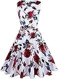 OWIN Damen Vintage 1950 Blumen Frühling Garten Picknick Kleid Party Cocktailkleid