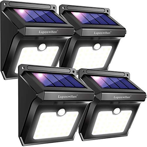 Luci Solari da Esterni, Luposwiten 28 LED Lampada Solare da Esterno con Sensore Movimento, Lampade Solari per Giardino, Muro, Cortile Terazzo Luce Solare Illuminazione (4 Pezzo)