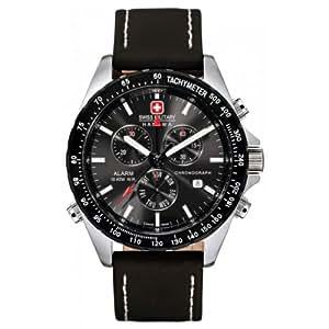 Swiss Military - 06-4007.04.007 - Montre Homme - Quartz Analogique - Cadran Noir - Bracelet Cuir Marron