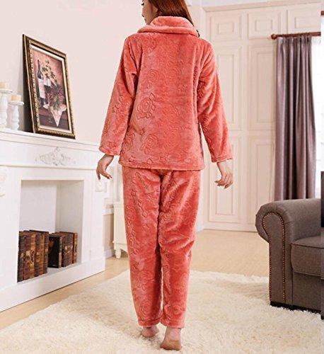 Autunno E Inverno Delle Donne Spesse In Set Di Mobili Pigiami Abbigliamento Manica Lunga Manica Lunga Super Confortevoli Pigiami Caldi Orange