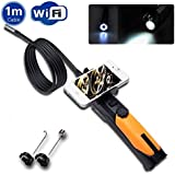 WF200 2.0 Megapixels 720P HD (AVI) WIFI Wireless connection endoscope borescope Inspection Cam ,Flexible 1M Video Tube Cable with 8.5mm diameter IP67 waterproof 6 LEDs camera head,Support APP APK on Mobile drive Laptop PC For Android Apple iOS iphone 4 iphone 5C iphone 5S ipad mini ipad 5 ipad Air With Flashlight, [Importado de Reino Unido]