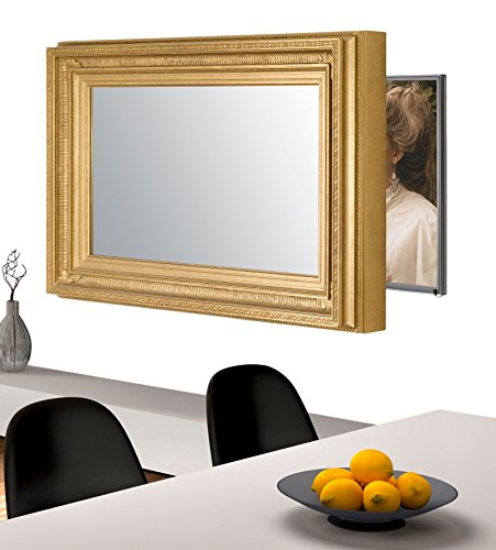 Handmade Framed Mirror to Turn Your Existing TV to Hidden Mirrored Television that Blends into Your Home or Business Decor (32 Inch, Regency Gold)