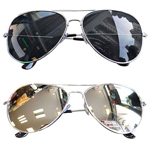 2 Stück Pilotenbrille Verspiegelt Fliegerbrille Sonnenbrille Pornobrille Brille (Schwarz+ Silber) (Silber + Schwarz)