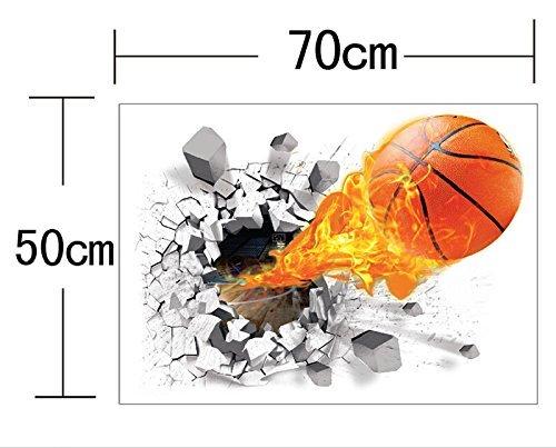 Test-Rite 3D Abnehmbare Selbstklebend Vinyl Wandaufkleber Broken/Mural Art Aufkleber Decorator Kinderzimmer Kinder Geburtstag Décor Favor Geschenk (Lucky Basketball (50x 70,1cm/50x 70cm))