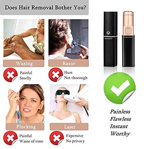 Depiladora Facial Para Mujeres Eléctrica maquinilla Removedor de vello facial,  Uervoton Afeitadora Eléctrica sin dolor para Mujer Bikini Trimmer,  Labio,  Barbilla,  Mejilla con 2 cabezas de repuesto