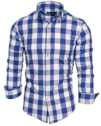 Amaci&Sons Herren Kariertes Slim-Fit Trachtenhemd Bügelleicht Oktoberfest Karo Hemd 5005 Royalblau S