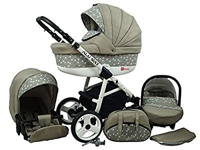 Kinderwagen BABYLUX ALU WAY KHAKI, 3 in 1- Set Wanne Buggy Babyschale,Muffe