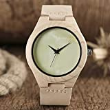 Liandd Word Dial Wood Watch Sbiancante Bamboo Minimalist Analog Genuine Novelty Clock Online,Cream Color