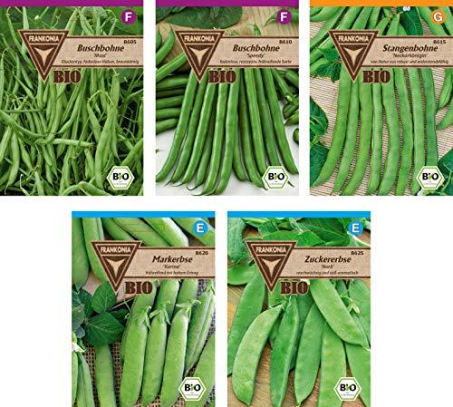 Frankonia-Samen / Bio-Hülsenfruchtsamen / Bio-Sortiment / 5 Sorten / Mix aus Erbsen- und Bohnensorten -