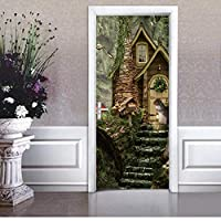 FUZILV Fairy Tale World Squirrel Cabins Pattern Modern Creative Door Stickers 2Pcs/Set