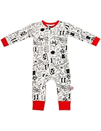 Nino Bambino 100% Pure Organic Cotton Round Neck Full Sleeve Multicolor Animal Printed Full Romper For Baby Boys With Zipper
