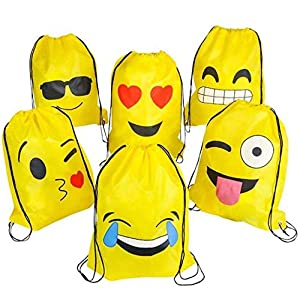 Emoji Mochilas Petate 4 Pack Cordón Mochila Bolsas Infantiles para niños y niñas Deporte Gimnasio Backpack Regalos Detalles y Recuerdos para Invitados de Bodas, Comuniones, Cumpleaños