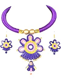 Nisuj Fashion's Terracotta Jewellery Set Purple & Pink Combination Metallic/Glossy Finish  Bead Necklace Set For...
