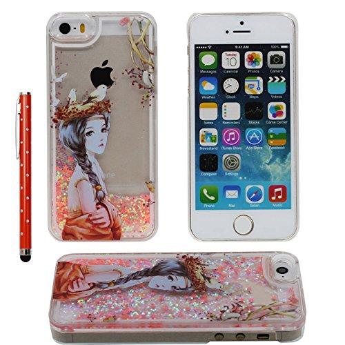 iPhone SE Case Liquide Eau Coque, Transparente Dur Étui Protection avec Écoulement Étoiles Désign pour Apple iPhone 5 5S SE 5G, Beau Fille Motif Case Avec 1 stylet orange