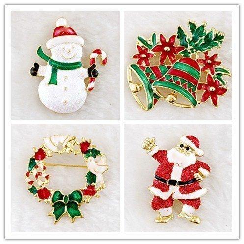 nachten Brosche Schneemann Glocken Weihnachtsmann Nette Kristall Diamant Emaille Weihnachten Schmuck Geschenk Rot Kristall Weiße Weihnachtsbaum Kranz Schneeflocke Set (Halloween Christmas Tree Ornaments)
