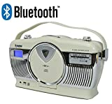 Steepletone Stirling Cream Retro Style Bluetooth Portable Music System with 3 Band FM MW LW Radio CD MP3 Player and USB Charging port Latest model exclusive to Digitalis