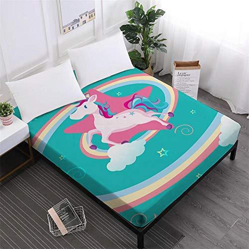 PENVEAT Einhorn-Serie Bettwäsche Cute Cartoon Print Spannbetttuch Mädchen Kinder Sweet Sheets 100% Polyester Matratzenbezug Home Decor D25, DCL-AS59, König