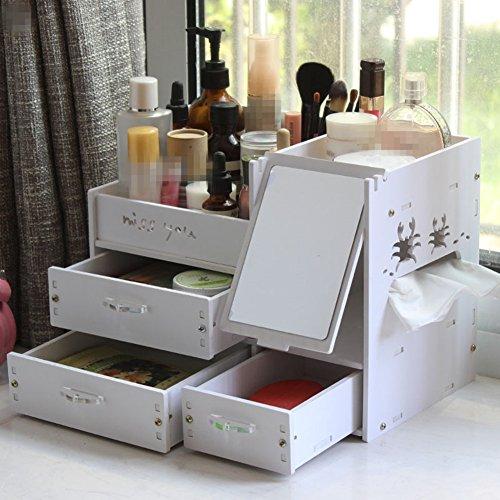 Haarverdichtung Kosmetik Aufbewahrungsbox Organizer mit Big Schubladen Große Kosmetiktasche für Mädchen Display Beauty, Lippenstift, Make-up usw. Organisation weiß