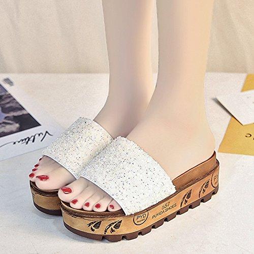 RUGAI-UE Donne ciabatte sandali donna estate moda indossare le suole spesse pantofole di paillettes scarpe da spiaggia White