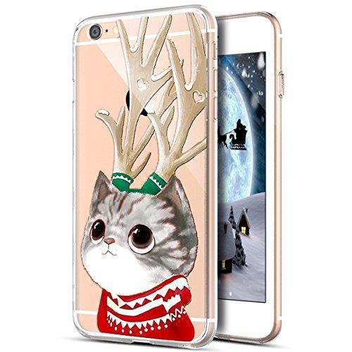 e 6S Plus Hülle,iPhone 6 Plus Hülle,Durchsichtig Xmas Christmas Weihnachten Schneeflocke Klar TPU Silikon Handyhülle Schutzhülle für iPhone 6S Plus/6 Plus,Weihnachten Geweih Katze ()