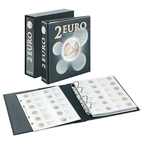 Álbum pre-impreso para monedas 2 Euro commemorativas [Lindner 3535E], Tapa de anillas en diseño de 2 euros con hojas de monedas Multi Collect, incl.