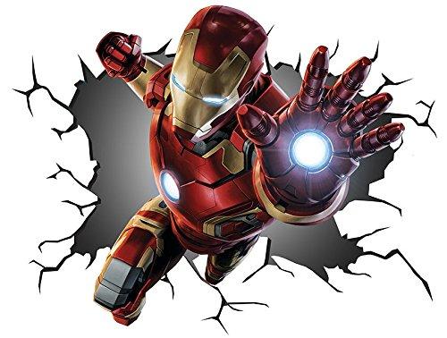 Marvel Avengers Iron Man V00258Wall Crack Smash Wandtattoo selbstklebendes Poster, Maße 1.000mm breit x 600mm hoch, Größe L (Marvel Avengers-fenster Aufkleber)
