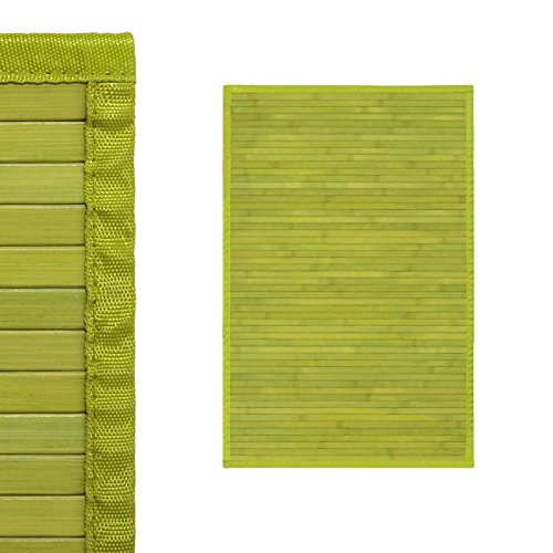 Alfombra de Salón o Comedor, Verde Pistacho, de Bambú Natural 60 X 90cm, Natur 60 X 90 -Hogar y Más...