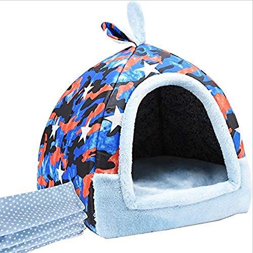 ZH-posture Hundehütte, Katzenstreu, Kaninchennest, Jurt, Winter, kleine Hunde, Haustiernest, geschlossene Katzen, mit Decken (Farbe: B), waschbares Hundebett B