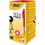 BIC M10 Original Stylos-Bille Rétractables Pointe Moyenne (1,0 mm) - Rouge, Boîte de 50