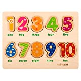 Yikky Numbers Wooden Puzzles for Toddlers - 10 Numbers Preschool Early Educational Development Wooden Puzzles Toys for Age 1 2 3 Child Kids Toddlers Baby Boys Girls