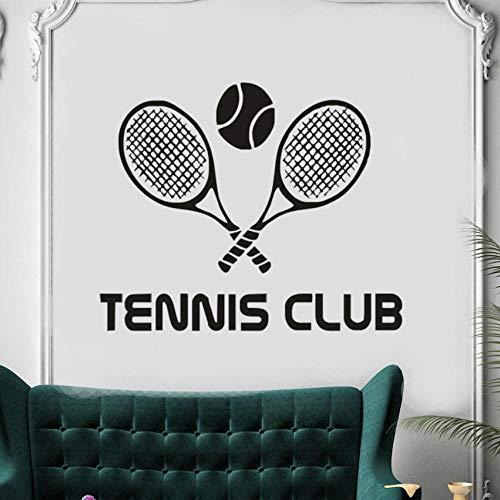 Qvzxn Vinyl Aufkleber Tennis Club Wandtattoo Schläger Sport Home Interior Wandkunst Dekor Abnehmbare Tennis Sport Wandbild 57X47Cm -