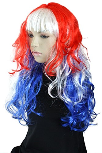 Sonia Originelli Perücke Langhaar Locken Kopfbedeckung WM EM Fan Party Fasching Karneval Farbe Australien