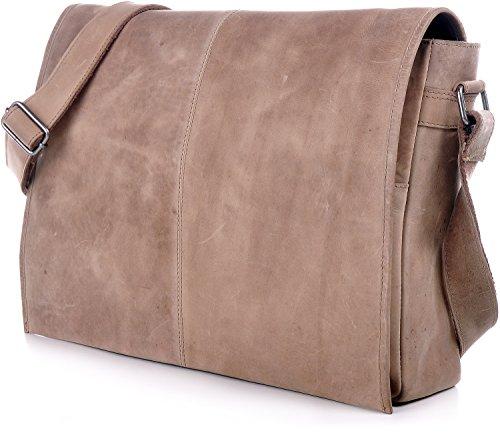 Leder Umhängetasche Braun URBAN FOREST Cntmp XL-Messenger Bag Umhängetasche DIN-A4 Aktentasche Hellbraun Echt-Leder Tasche Cognac 42x28x9cm (B x H x T) Natur