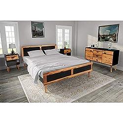 Tidyard L'Ensemble Complet de Mobilier de Chambre à Coucher 4 Pcs (1 Cadre de lit + 2 Tables de Chevet + 1 Buffet) en Bois d'Acacia Massif Style Moderne 140 x 200 cm