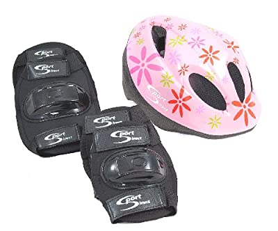 Sport DirectTM Mountain Bicycle Helmet & Saftey Pads Set Childs Childrens Pink Girls by Sport DirectTM