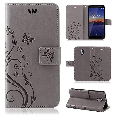 betterfon | Flower Case Handytasche Schutzhülle Blumen Klapptasche Handyhülle Handy Schale für Nokia 3.1 Grau
