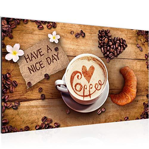 Bilder Kaffee Coffee Wandbild 70 x 40 cm Vlies - Leinwand Bild XXL Format Wandbilder Wohnzimmer Wohnung Deko Kunstdrucke Braun 1 Teilig - Made IN Germany - Fertig zum Aufhängen 501214a