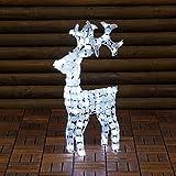 Reno con cristales blancos, 70 cm, 100 LED luz fría, figura luminosa, decoración de Navidad de jardín