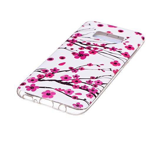 Coque Galaxy S8 Edge Luminous,Transparent Coque pour Samsung Galaxy S8 Edge,Ekakashop Ultra Slim-fit Noctilucent avec Motif Campanula Coque de Protection en Soft TPU Silicone Crystal Clair Souple Gel  Prune Fleur Luminous