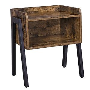 VASAGLE Nachttisch, Nachtkommode, Beistelltisch im Industrie-Design, stapelbarer Nachtschrank mit offenem Fach, Retro, rustikale Holzoptik, Akzentmöbel mit Metallbeinen, stabil, Vintage LET54X