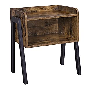 VASAGLE Side Table, Industrial Nightstand, Stackable End Table with Open Front Storage Compartment, Retro Rustic Chic Wood Look, Accent Furniture with Metal Legs, Rustic Brown LET54X