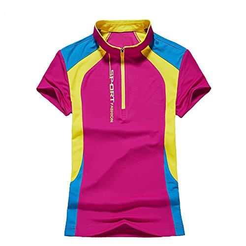 Sommer Frauen Damen Schnell Trocken Laufen Wandern Tops Feuchtigkeit Wicking Fit T-Shirt Rose L (Top Kurzarm-pj)