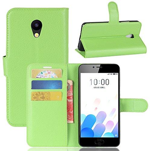 Kihying Hülle für Meizu M5c / Meizu A5 Hülle Schutzhülle PU Leder Flip Wallet Fashion Geschäft HandyHülle (Grün - JFC06)